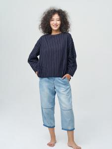斯琴女装藏青条纹T恤