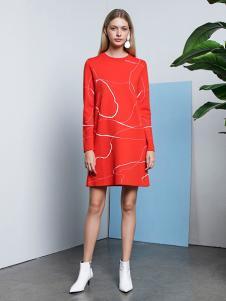 e+新款紅色連衣裙