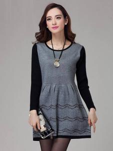 素影女装灰色收腰连衣裙