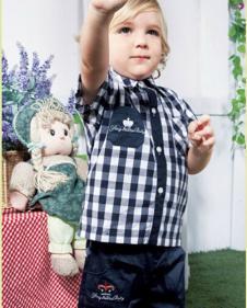 婴乐岛男小童蓝色格子衬衫