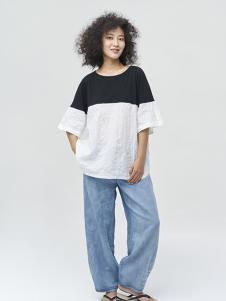 斯琴女装拼接五分袖T恤