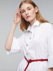 玛革诺施女装白色翻领衬衫