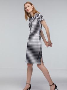 玛革诺施女装条纹开叉连衣裙
