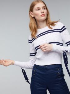 玛革诺施女装白色条纹T恤