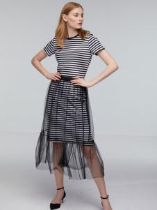 玛革诺施女装条纹长款连衣裙