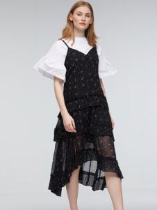 玛革诺施女装黑色吊带连衣裙
