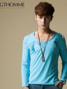 杰克托米男装天蓝色长袖T恤