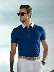 JEVONI男装蓝色休闲T恤