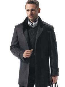 名鹰男装灰色毛呢大衣