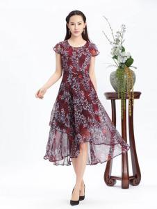 紫棉语女装枣红色印花连衣裙