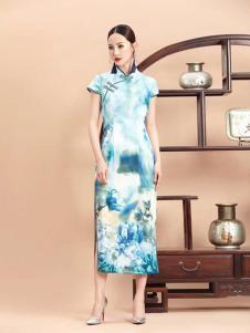 紫棉语女装清新斜扣襟旗袍