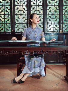 紫棉语女装蓝色开叉旗袍