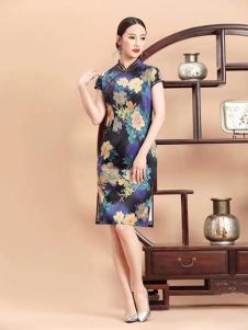 紫棉语女装黑色印花旗袍
