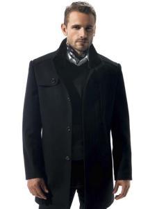 名鹰男装黑色毛呢夹克