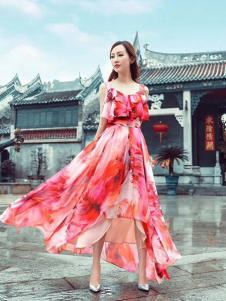 紫棉语女装印花吊带连衣裙