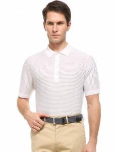 LEONARDO利奥纳多男装白色polo衫