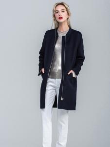 昭奈华裕女装黑色拉链大衣