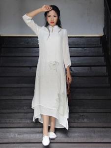 卡梵朵女装白色立领不规则连衣裙
