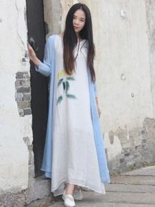 卡梵朵女装白色棉麻连衣裙