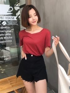 百变伊伊欧韩女装夏红色T恤