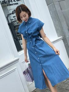百变伊伊蓝色衬衫长裙