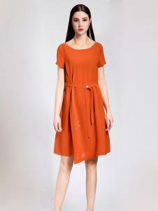 珞娜女装橘黄圆领连衣裙
