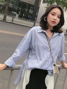 卡梵朵女装蓝色条纹衬衫