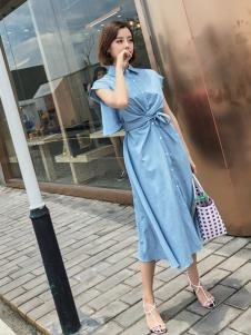 百变伊伊翻领蓝色时尚连衣裙