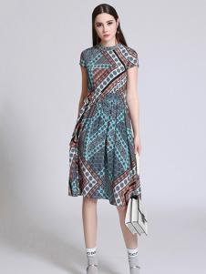 珞娜女装几何立领连衣裙