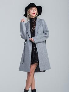 昭奈华裕女装灰色修身大衣