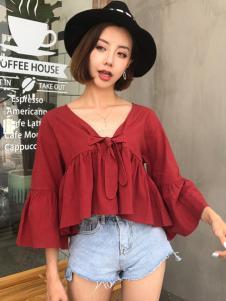 百变伊伊女装18酒红色韩版上衣