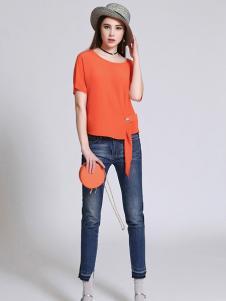珞娜女装橘黄短袖上衣