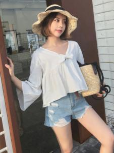 百变伊伊女装18夏白色韩版上衣
