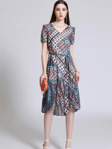 珞娜女装几何不规则连衣裙