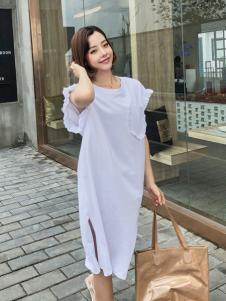 百变伊伊2018夏款白色连衣裙