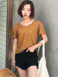 百变伊伊欧韩女装夏咖啡色T恤