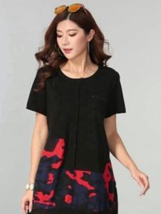 福太女装黑色短袖T恤