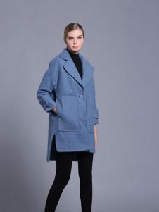 亚创国际女装湖蓝色开叉大衣