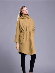 亚创国际女装姜黄色高领风衣