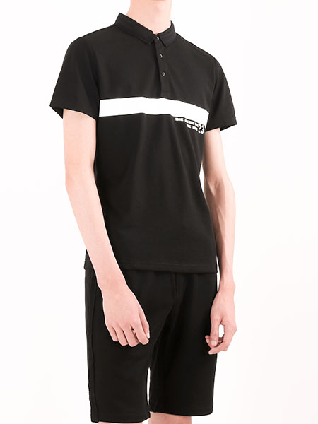 凯施迪男装黑色立领衬衫 款号311530