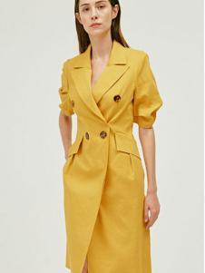 姗淇女装黄色休闲风衣