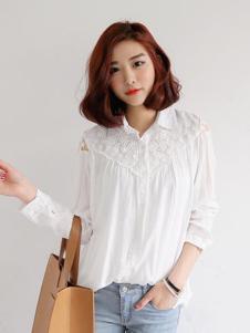 LOOWO女装白色蕾丝衬衫