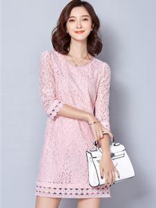 LOOWO女装粉色蕾丝镂空连衣裙