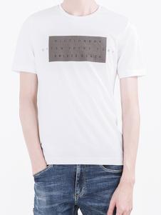 凯施迪男装白色休闲T恤
