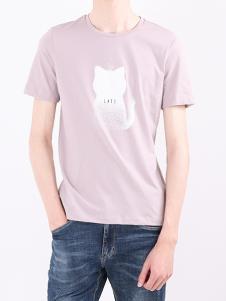 凯施迪男装粉色动物T恤
