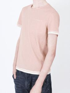凯施迪橘粉色圆领上衣