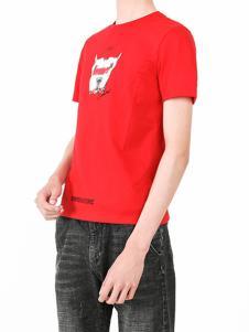 凯施迪 男装红色卡通上衣
