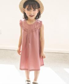 爱塔依倍粉色无袖连衣裙