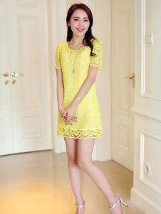LOOWO女装黄色蕾丝连衣裙