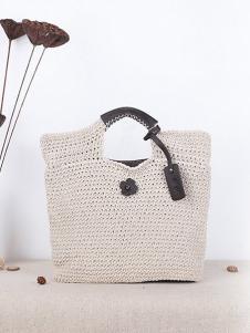 潮黛白色编织手提包